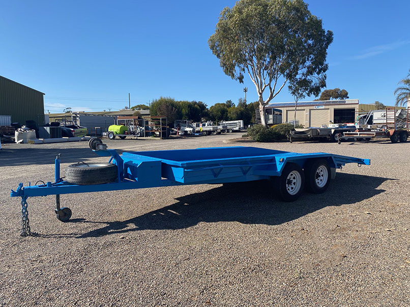 blue car trailer available for hire